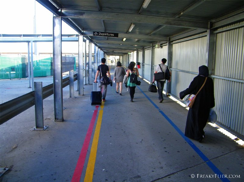 Making our way to the waiting aircraft at T4 Tullamarine Airport