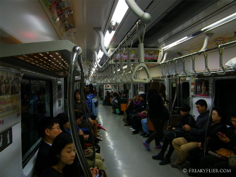 On board the subway in Seoul
