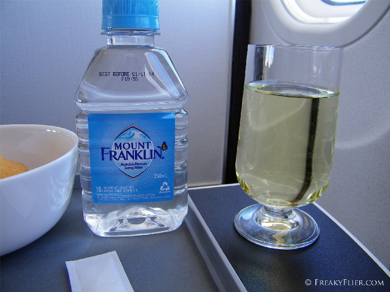 Water and wine prior to landing in Sydney