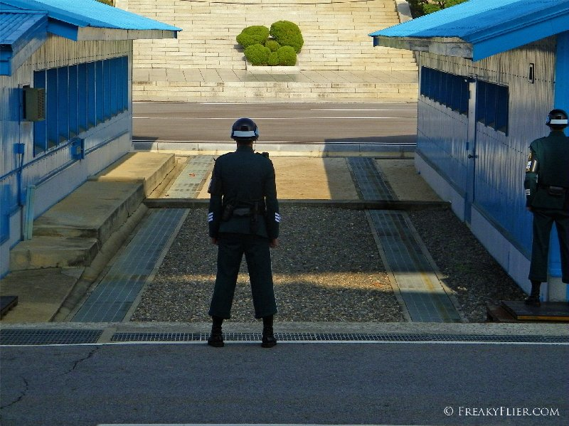 A South Korean soldier stands guard - where the sun shines into the North_edited-1