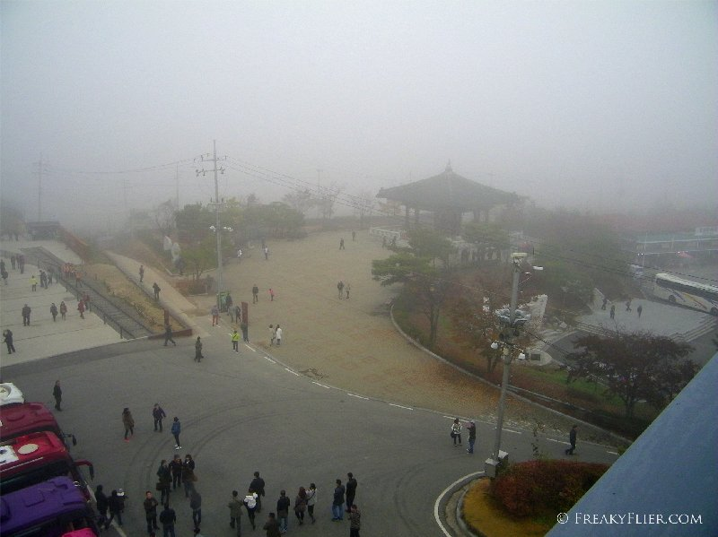 Imjingak - view from the top of the lookout on a foggy morning