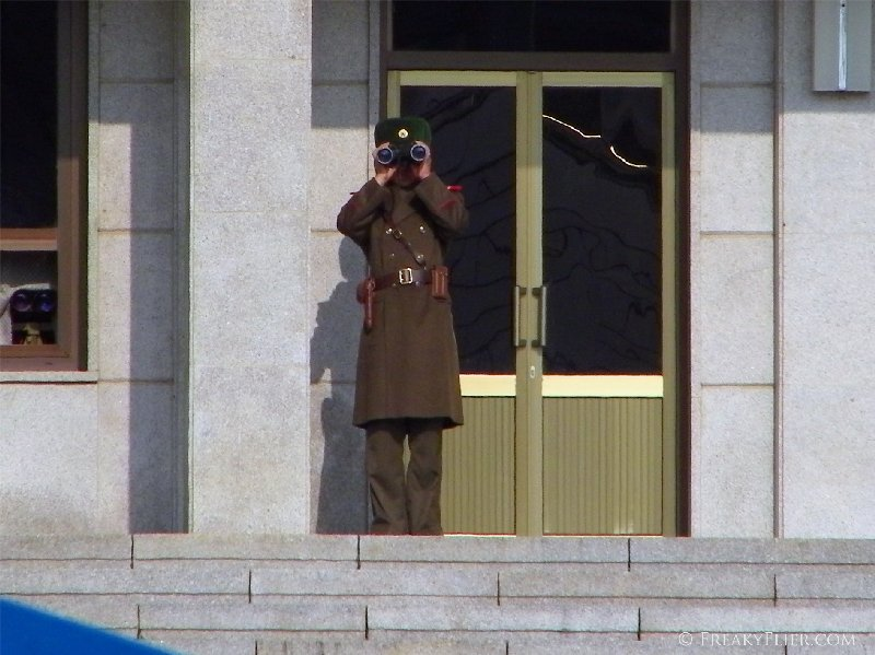 North Korean soldier guarding his building 'Panmungak'