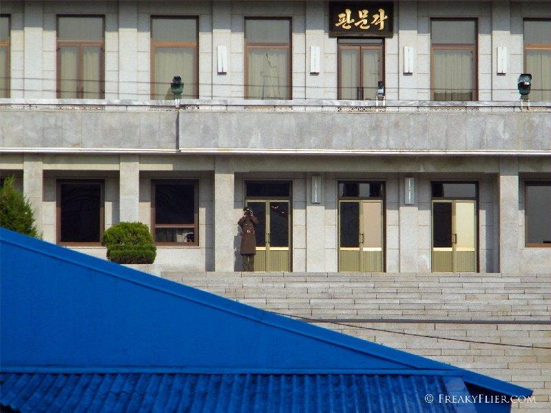 North Korean soldier guarding his building 'Panmungak'