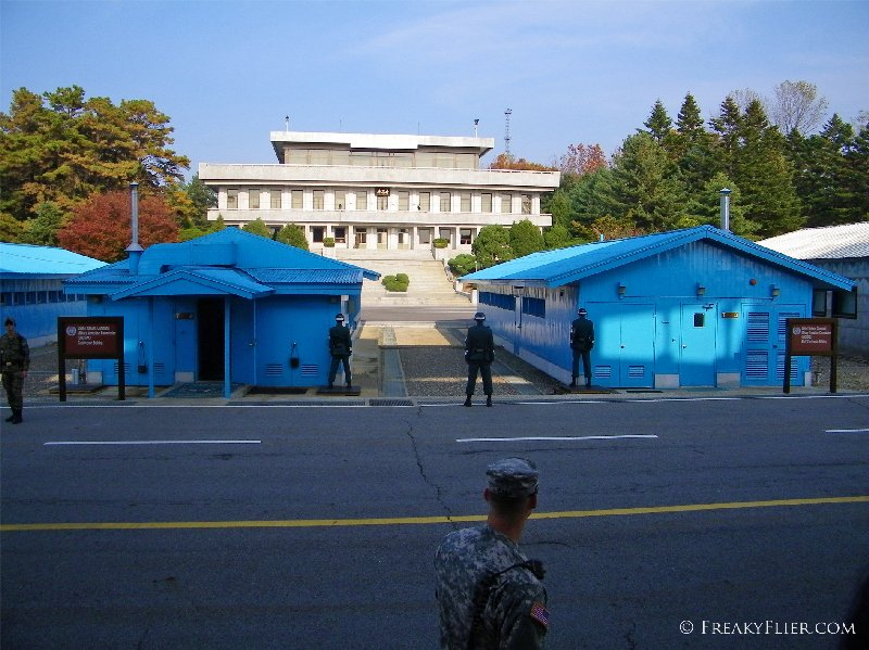 The blue conference buildings at the JSA