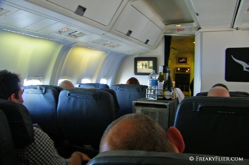 Drinks service begins on the Beoing 767-338ER to Melbourne