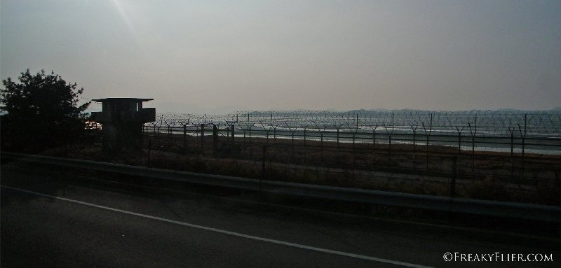 Barbed wire fence as seen heading back to the city of Seoul