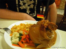 Eisbein pickled pork knuckle with potatos and vegetables - Large $26
