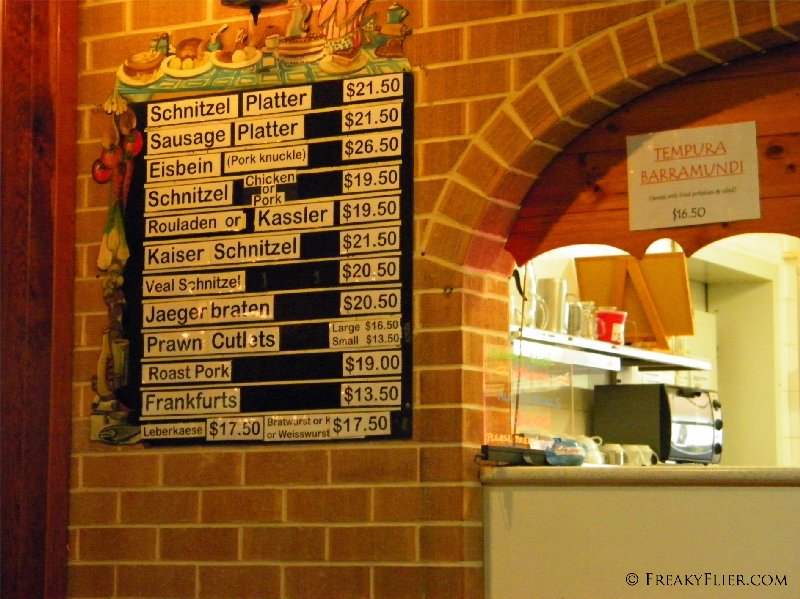 The Menu and specials available at the A.G.A. Germania Club