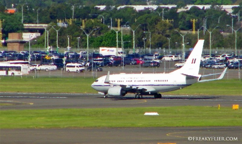 Royal Australian Air Force BBJ arrives with HRH the Duke and Duchess of Cambridge and Prince George