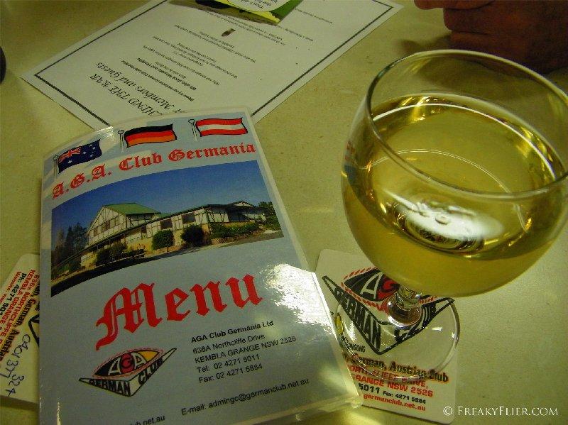 Drinks and menu at the AGA Club
