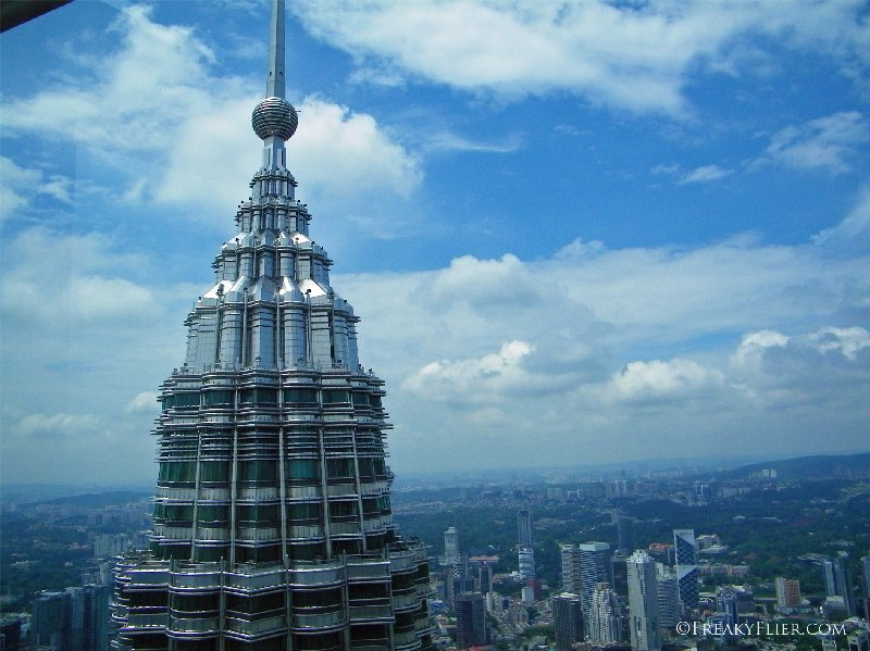One of the spires of the Petronas Twin Towers as seen from the 86th floor