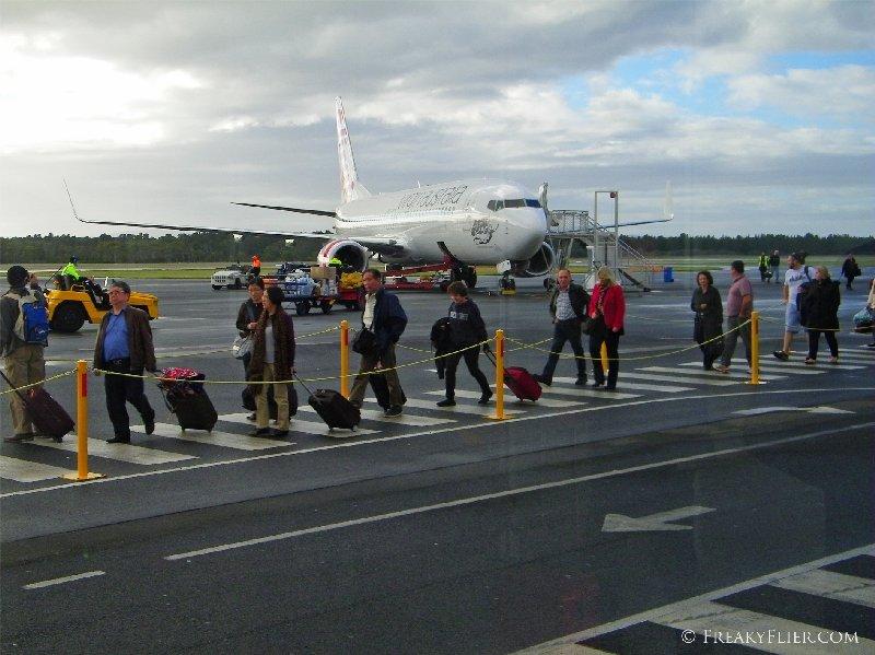 Arriving in Hobart on board Virgin Australia
