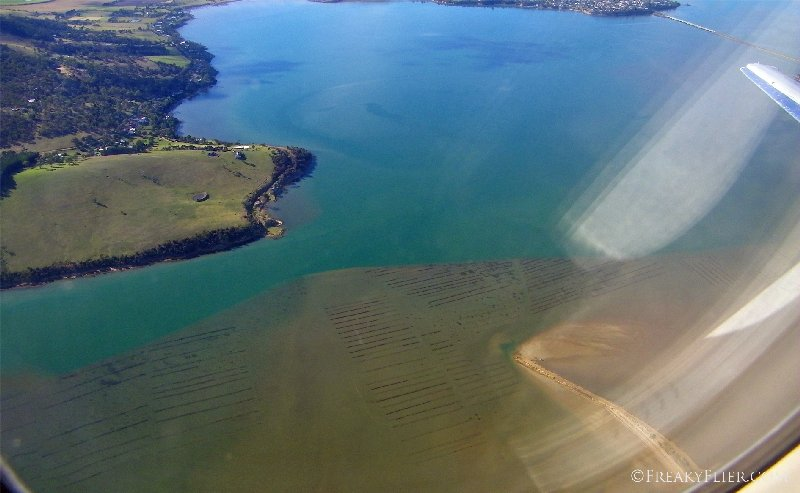 The Barilla Bay oyster beds as seen from the air
