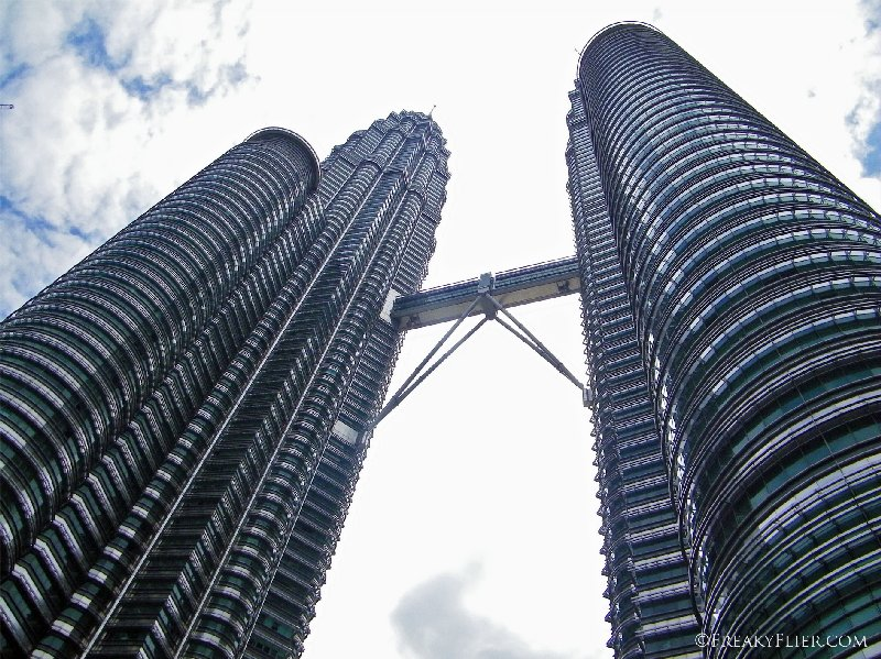 Looking up at the Petronas Twin Towers