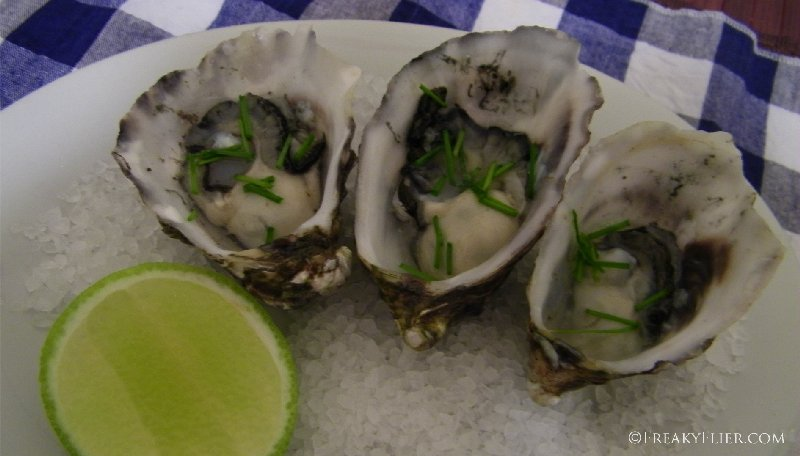 Oysters with lime chili and chives