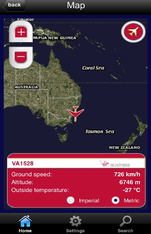 VA inflight map via iphone