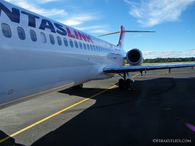 Boarding VH-YQV through the foprward stairs at Hobart Airport