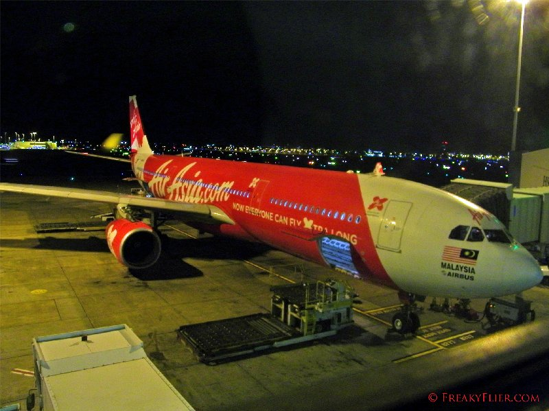 Air Asia X Airbus a330-300 ready for a night departure from Sydney