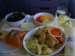 Business Class lunch on board China Airlines to Auckland