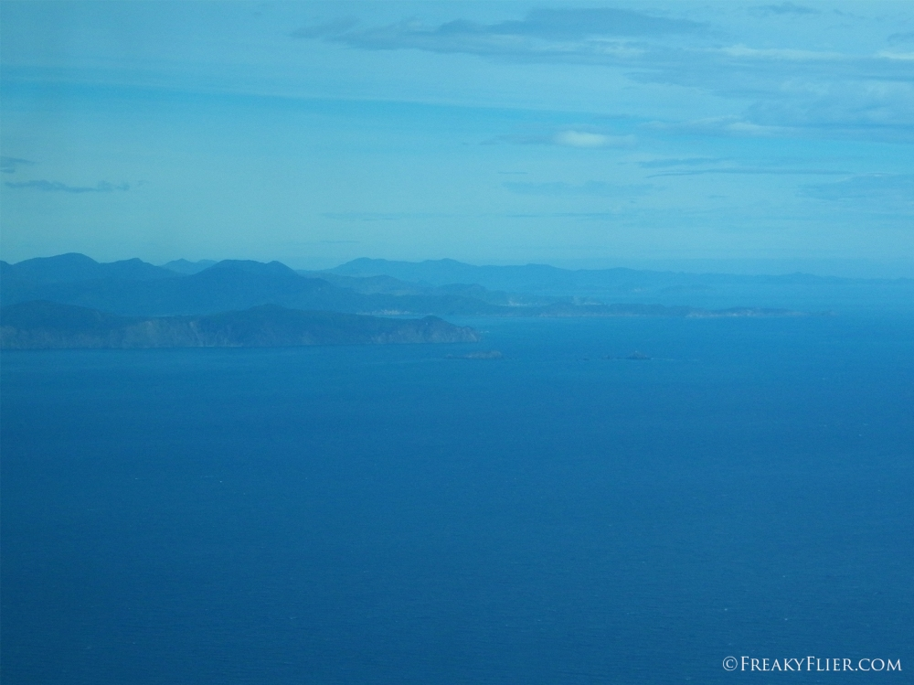 Flying over the Cook Strait