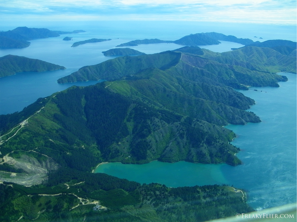 Flying over the Marlborough Sounds on the north of New Zealands South Island