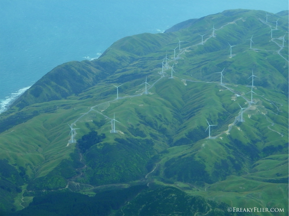 Flying over windfarms at the southern end of the North Island of New Zealand