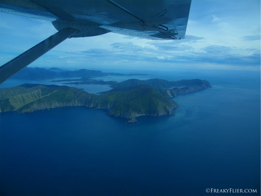 Heading over the Marlborough Sounds, the north of the South Island of New Zealand