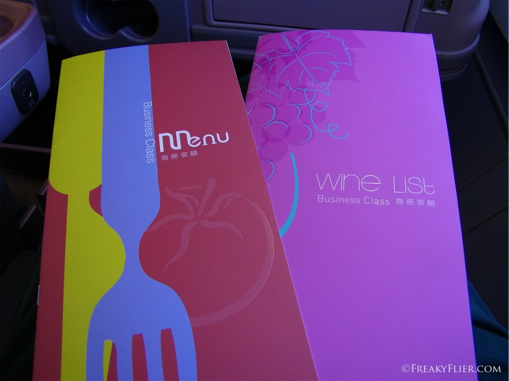 Inflight Menus on board China Airlines Sydney to Auckland