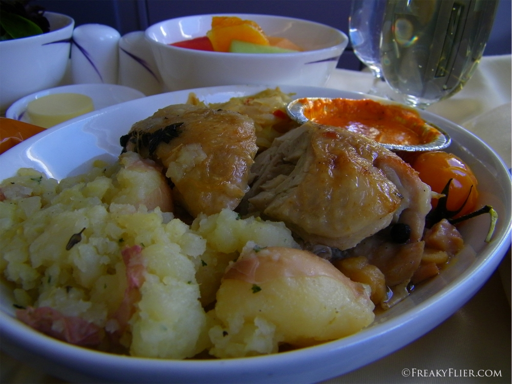 Lunch - Confit Chicken with smashed potatos on board China Airlines Business Class