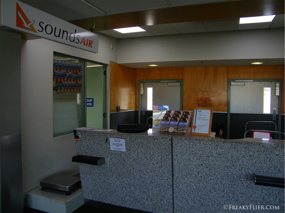 Soundsair check-in areat at gate 4 at Wellington Airport