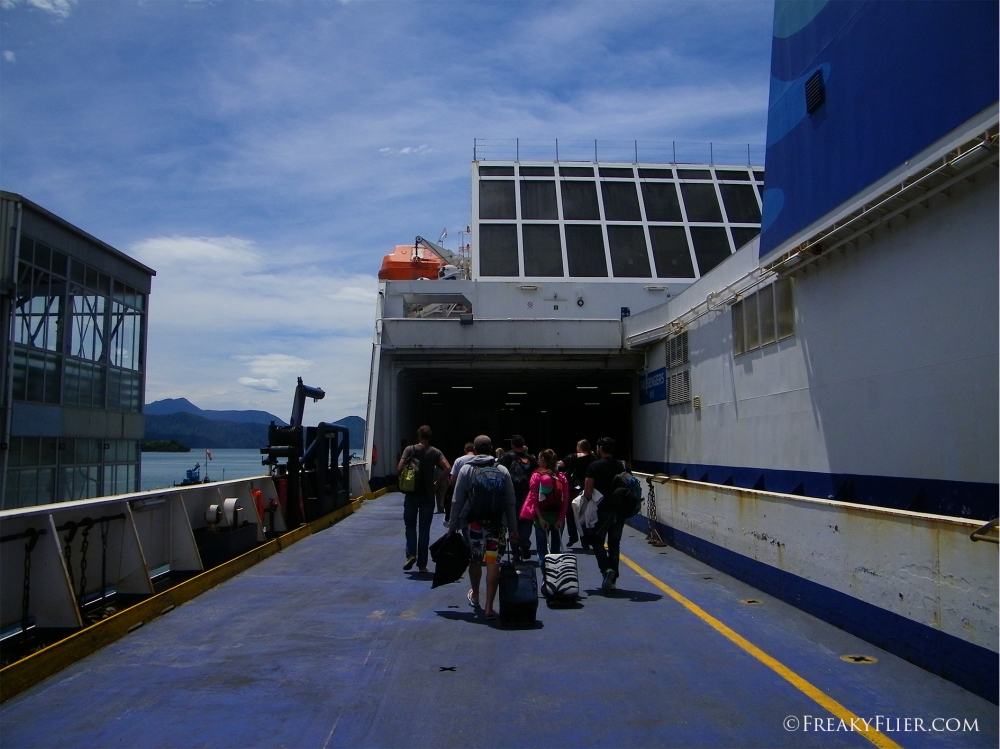 Boarding the MV Kaitaki