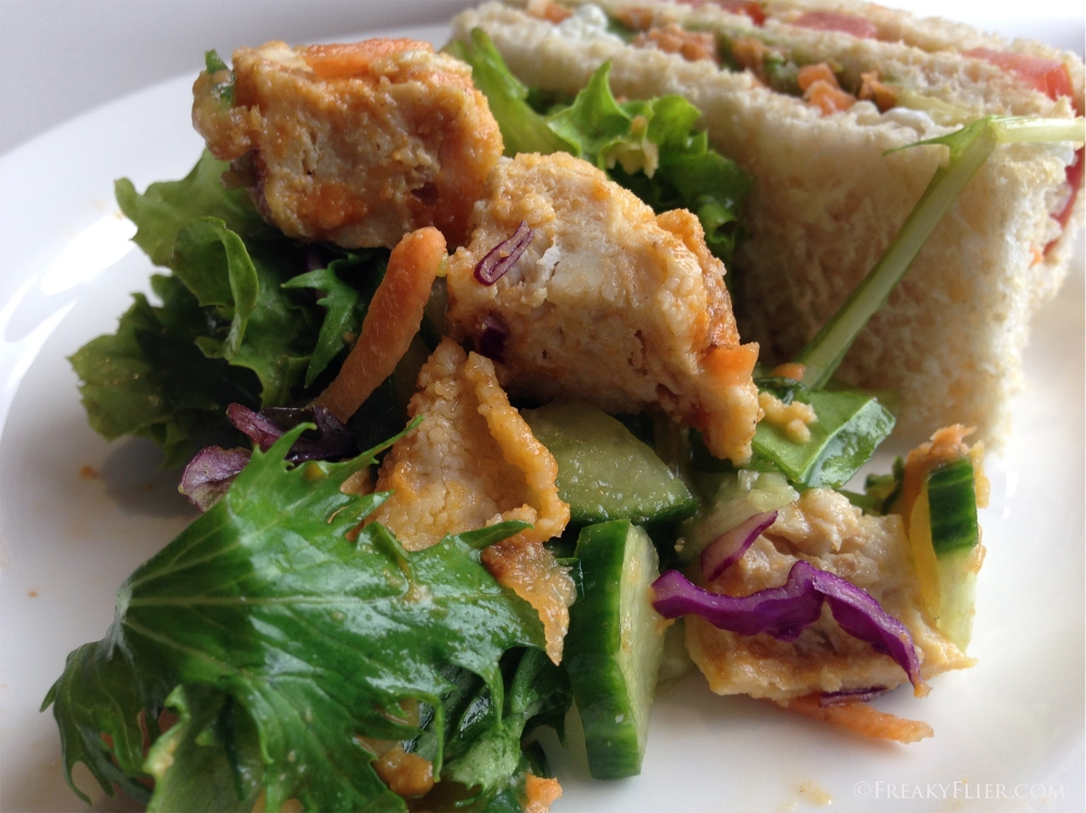Flame Grilled Chicken Salad and Vegetable Club finger sandwich at the QantasClub Wellington
