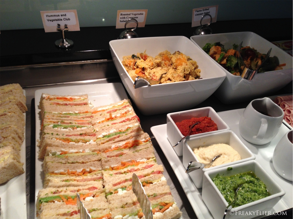 Salads, sandwiches and condiments at the QantasCLub Wellington