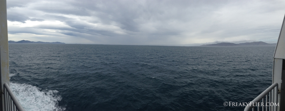 The South and North Islands can be both be seen from the ship