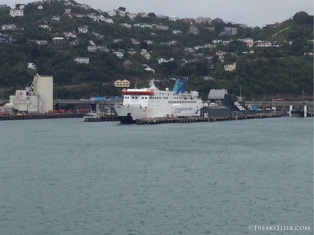Docking in Wellington next to the M.V Arahura