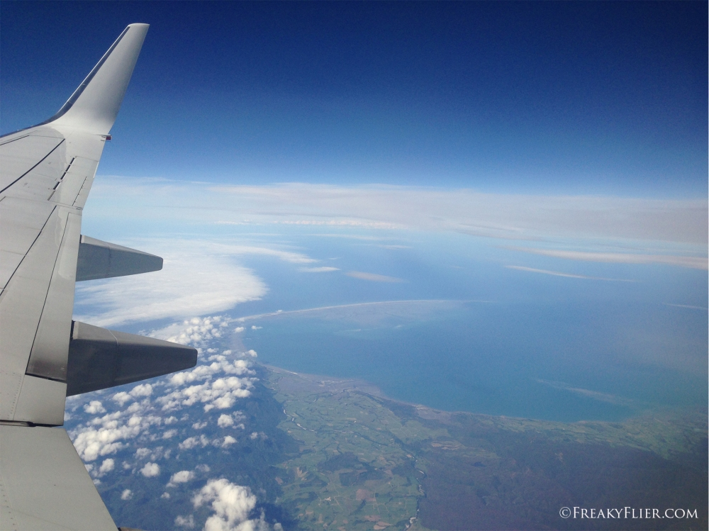 Departing over the coast of New Zealand