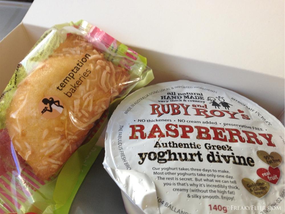 Inside the breakfats box yoghurt and friend