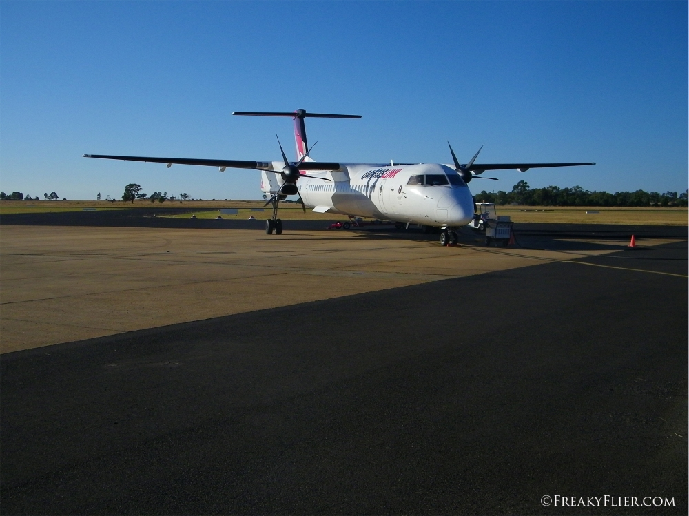 QantasLink Dash 8 - Q400 after arrival at Dubbo Regional Airport
