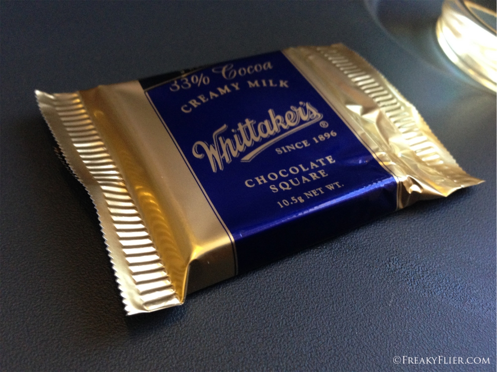 Yum. A Whitakers Chocolate Square was handed out amongst the passengers during flight