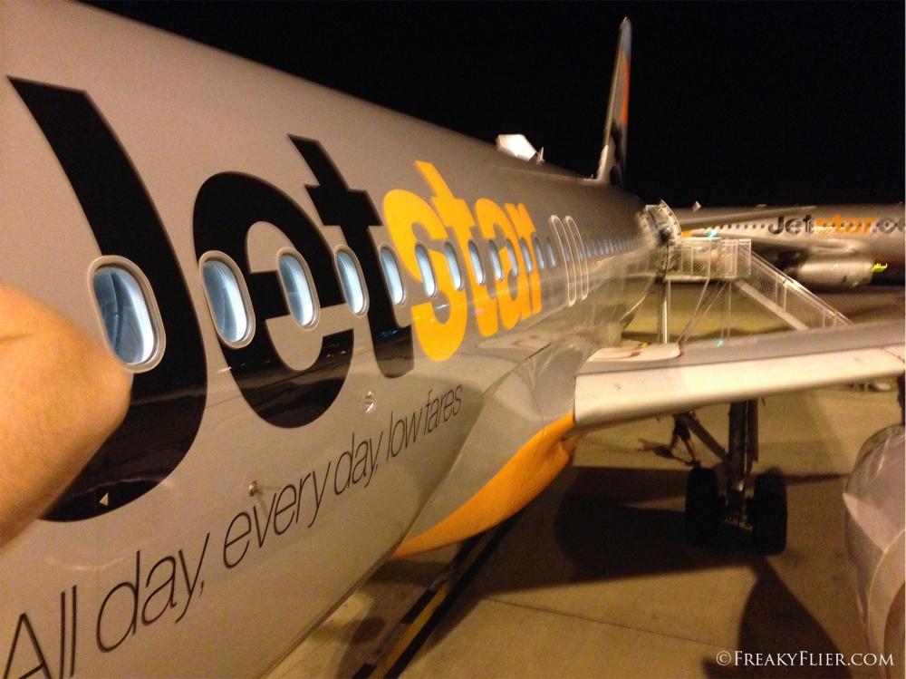 Disembarking in Brisbane on Jetstar Airways