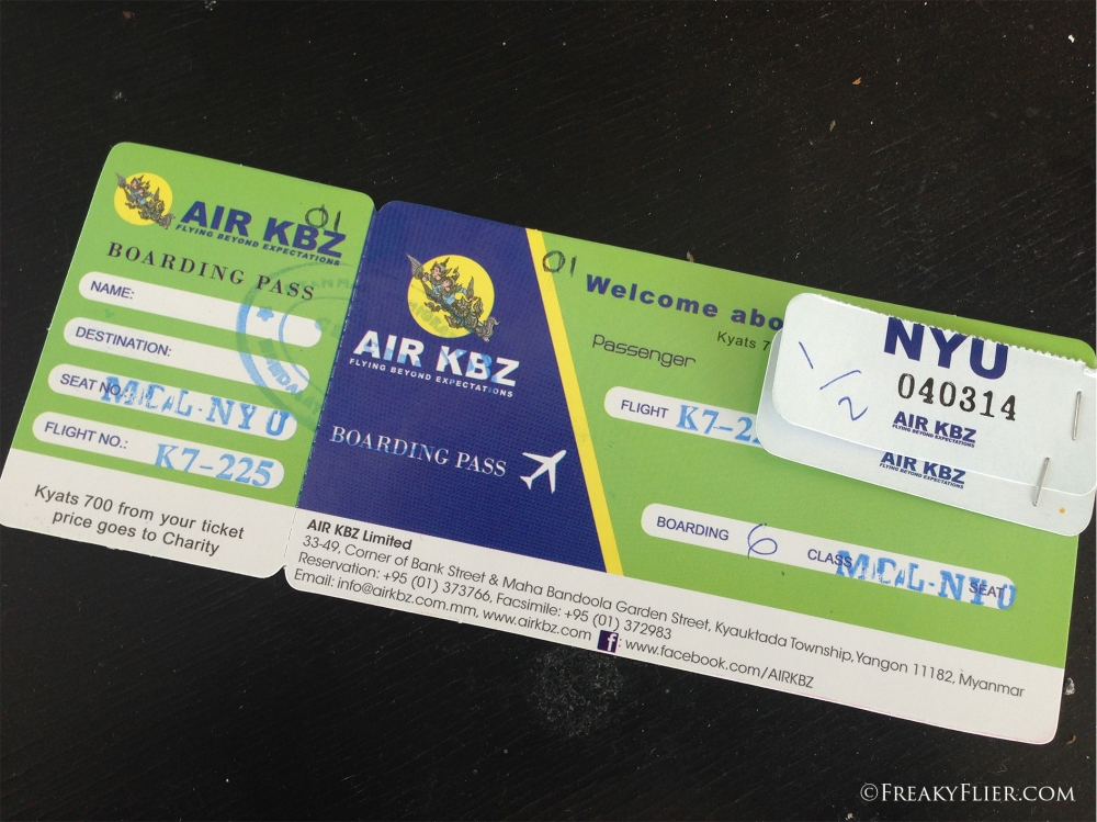 Air KBZ boarding pass. Note no name or assigned seat number