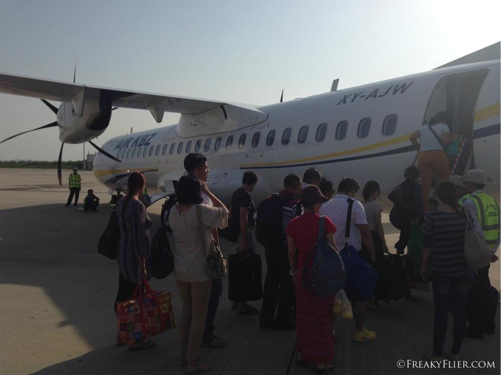 Boarding the very new Air KBZ ATR72-600 at Mandalay Airport