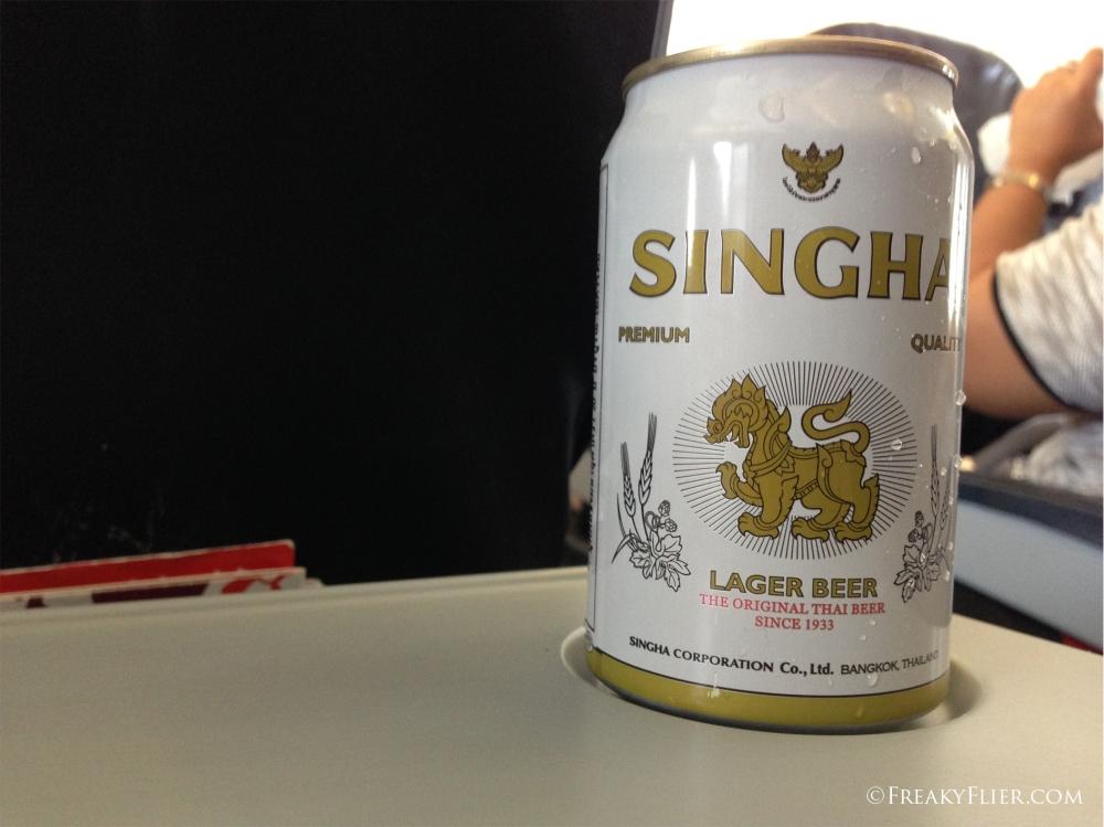 A Singha beer on Board Thai Air Asia