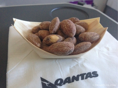 Dish of almonds on board Qantas Perth to Sydney