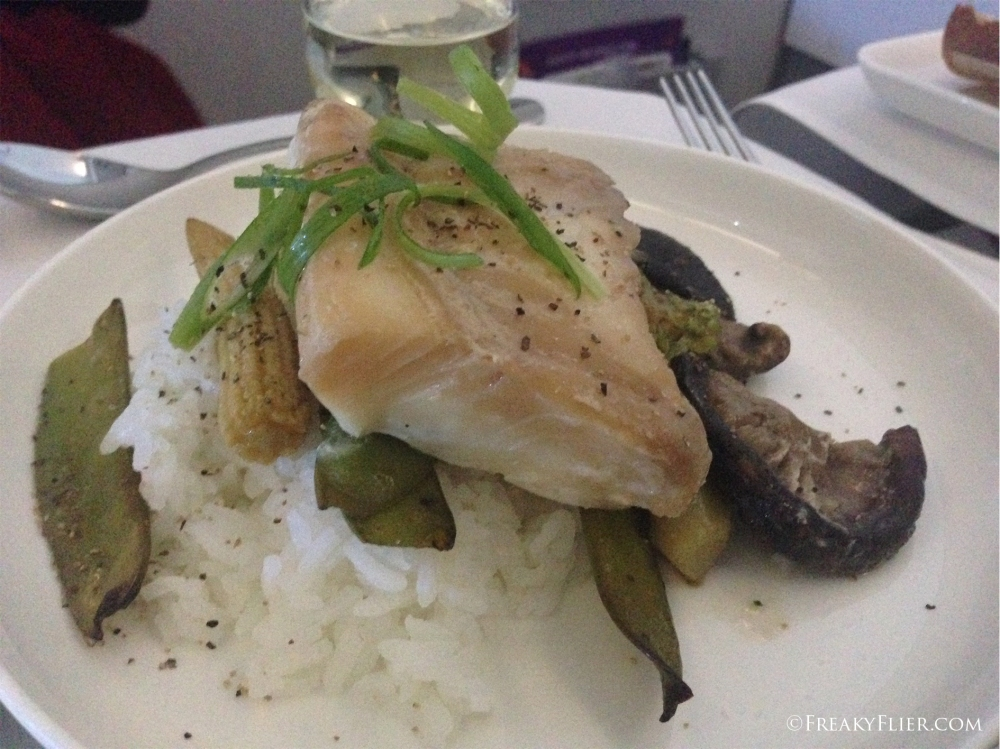 Steamed white fish of the day with heavenly vegetables and fragant rice