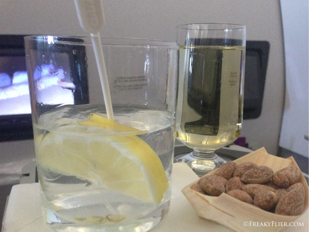 Water and lemon (seriously!) and a glass of vino
