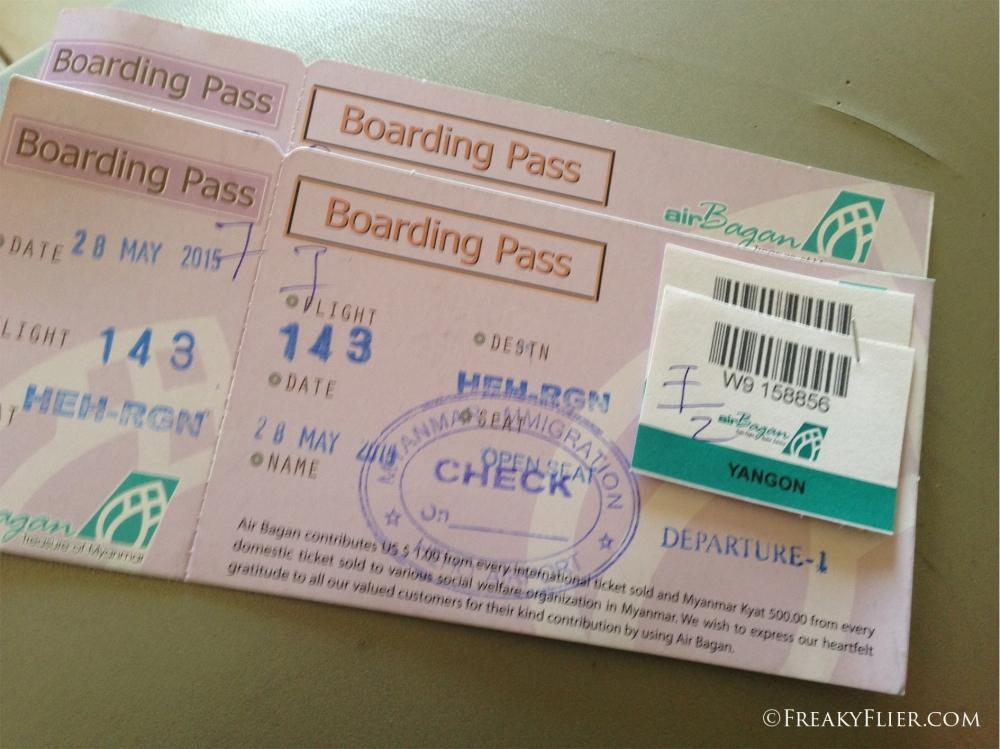 Nameless boarding passes for Air Bagan