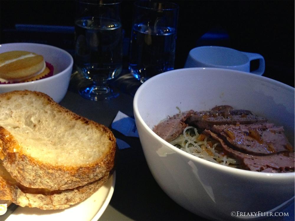Dinner on board Qantas enroute to Brisbane