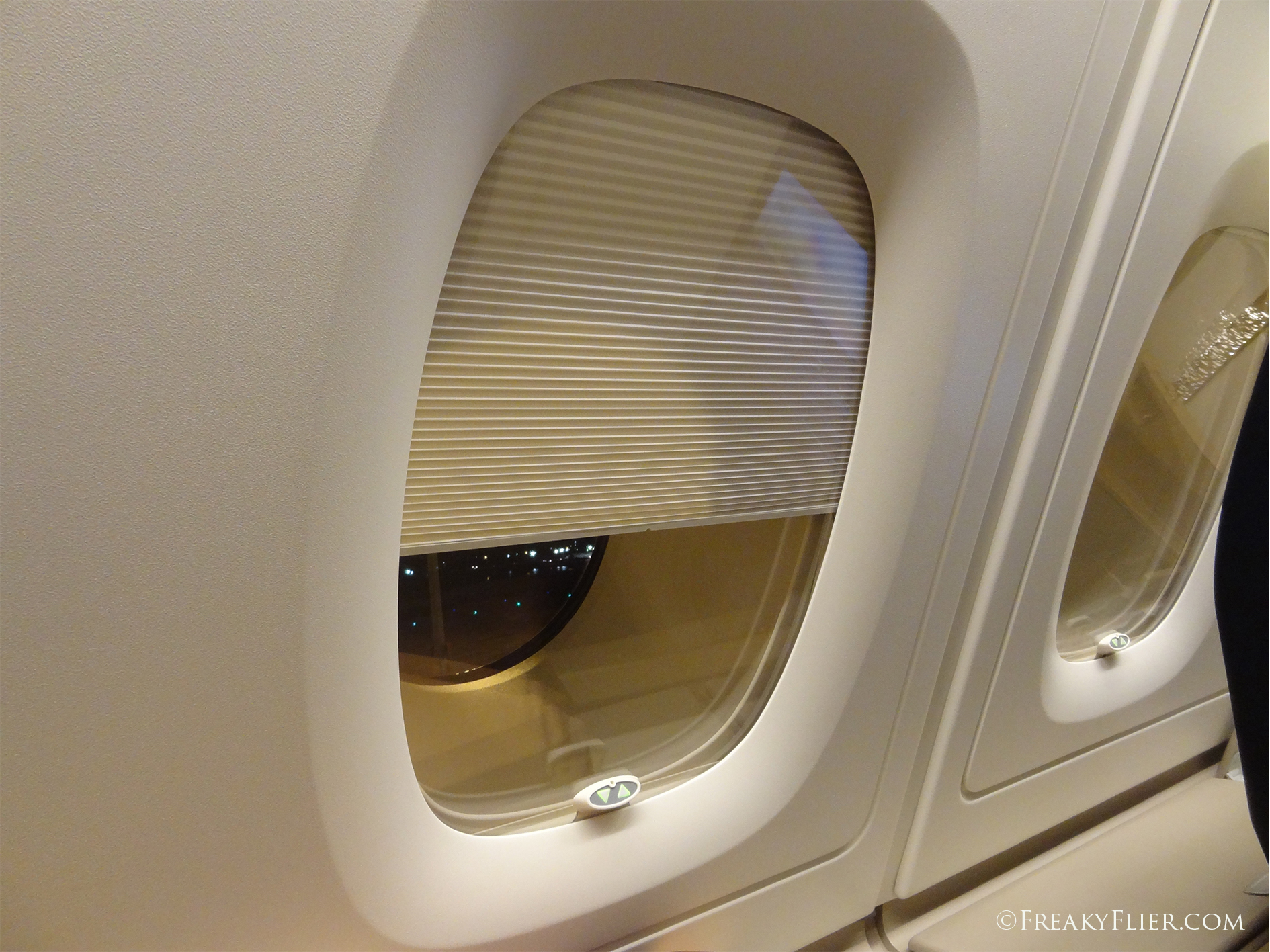 The electric window shades in Business Class