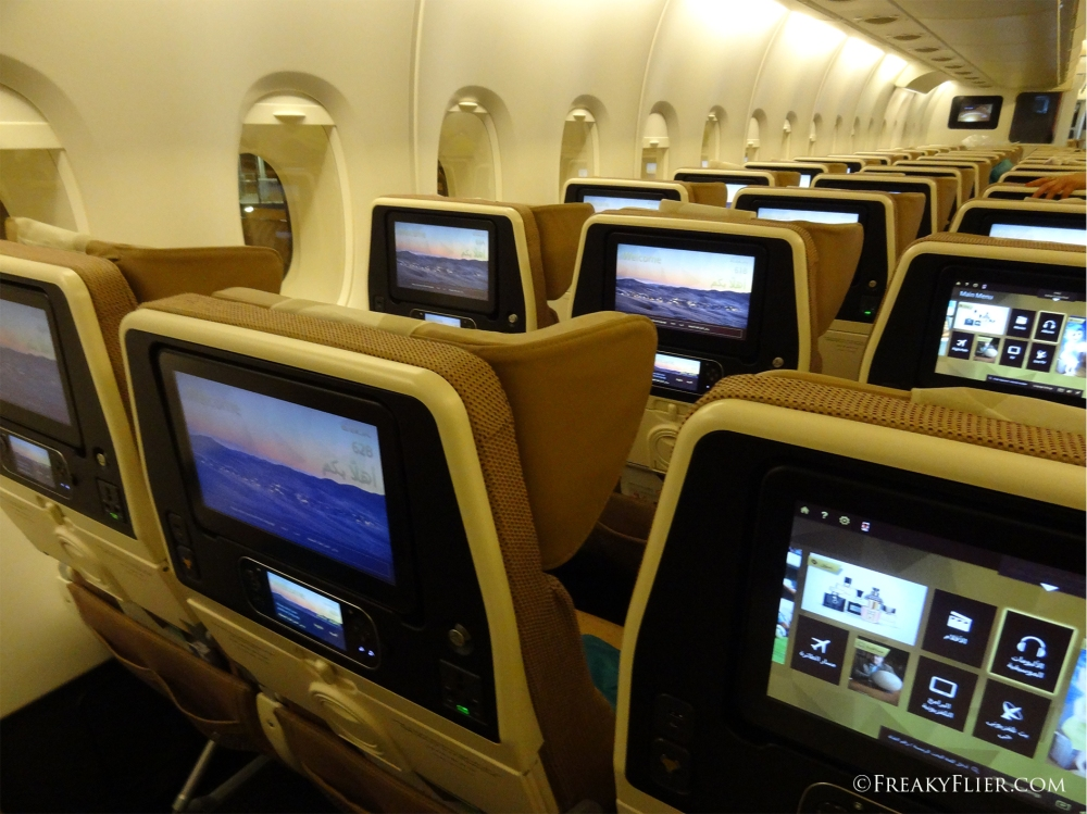 The main deck of the Airbus A380 feature Economy Class